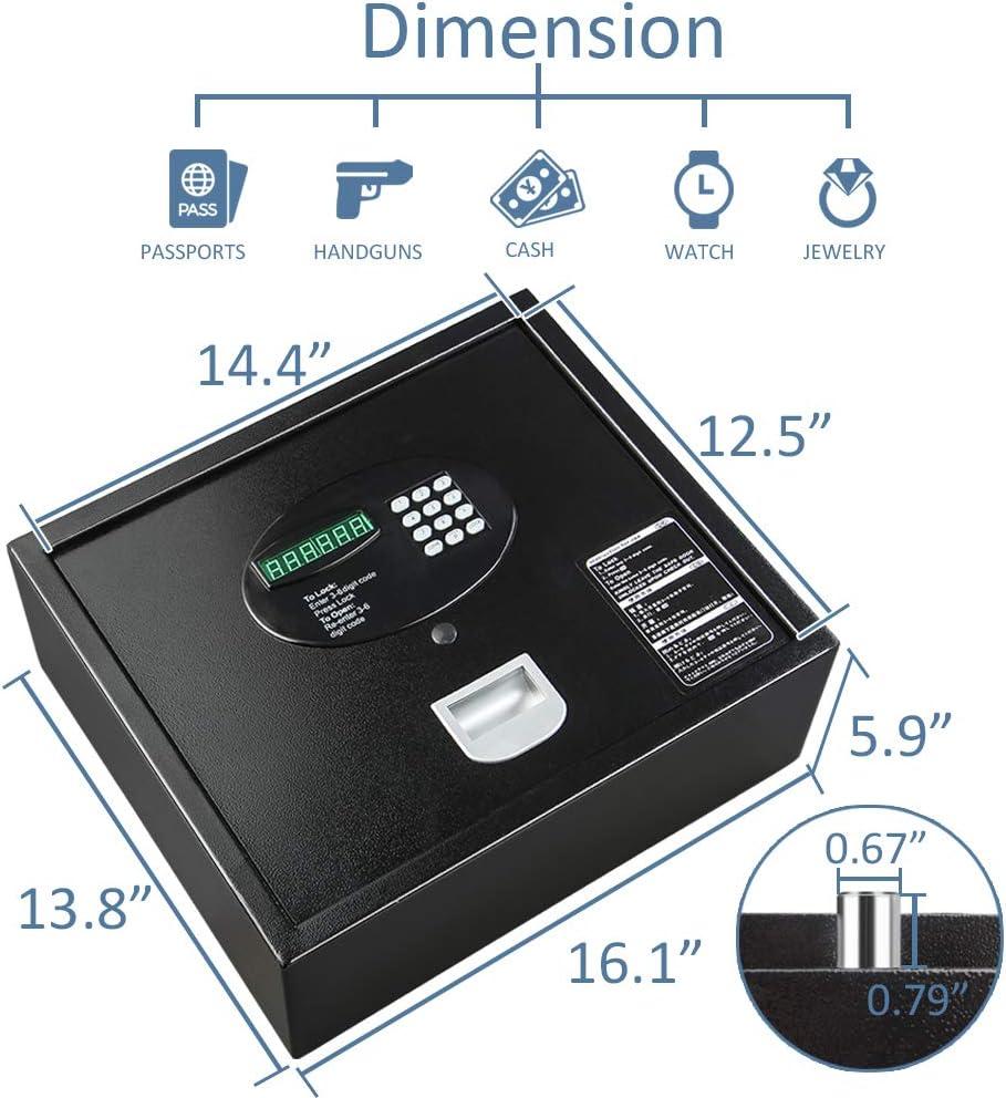 Top Opening Safe INVIE Keypad Security Drawer Safe with Key Black