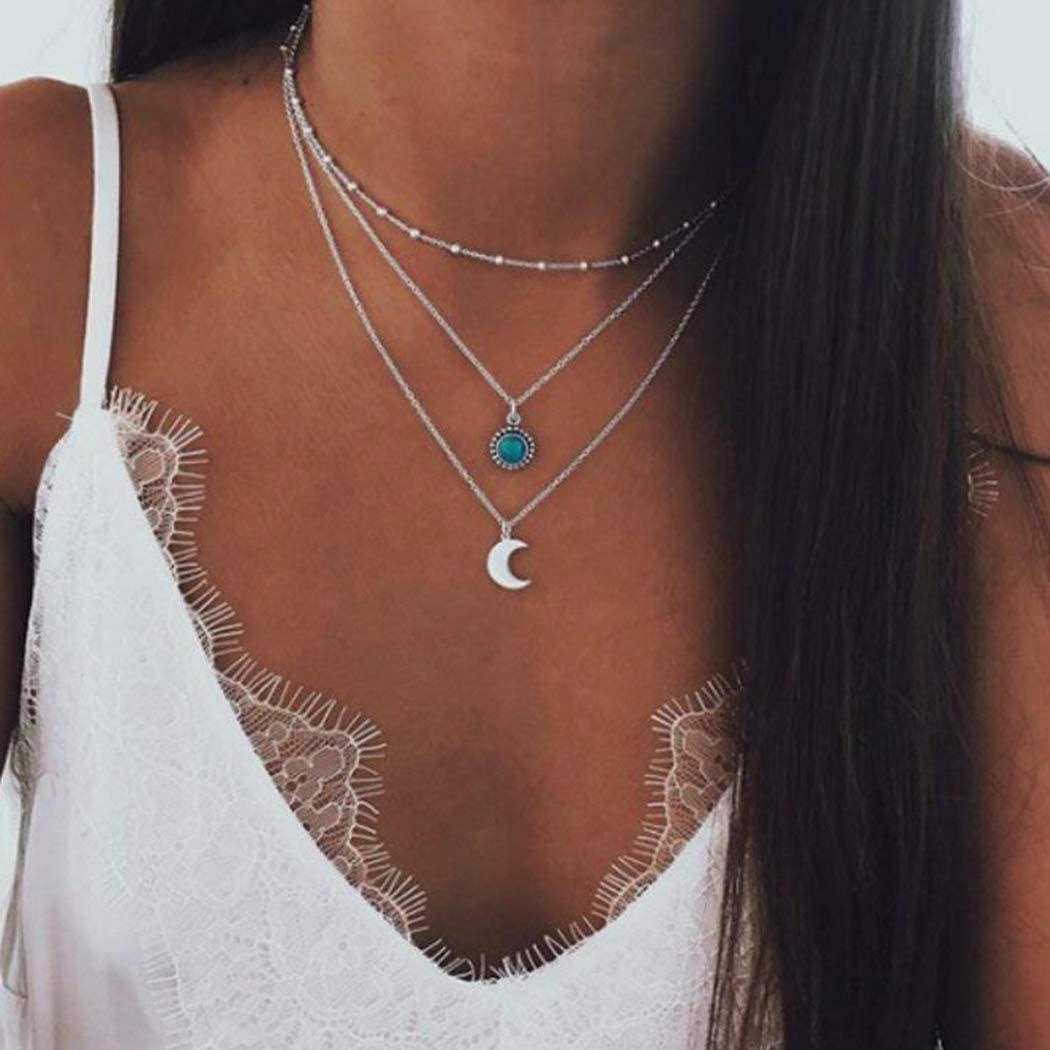 Asooll Bohemian Turquoise Layer Half-Moon Necklace Chain Silver Crescent Choker Necklace for Women