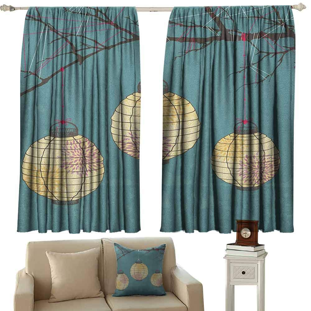 GUUVOR Lantern Blackout Curtain Three Paper Lanterns Hanging on Branches Lighting Fixture Source Lamp Boho 2 Panel Sets W52 x L84 Inch Teal Pale Yellow