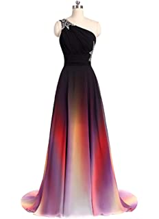 e0d84d0378d ANGELA One Shoulder Ombre Long Evening Prom Dresses Chiffon Wedding Party  Gowns