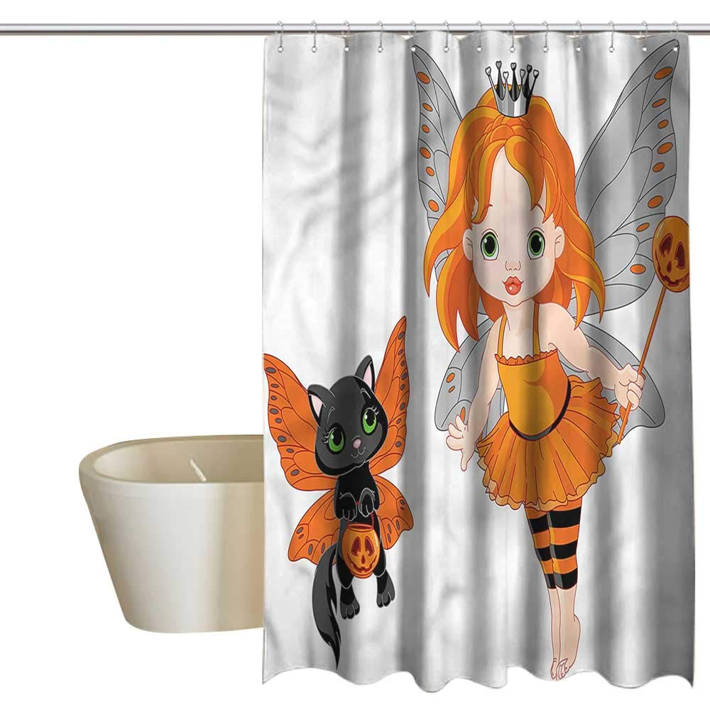 Denruny Shower Curtains with Quotes Halloween,Baby Fairy and Her Cat,W72 x L72,Shower Curtain for Girls