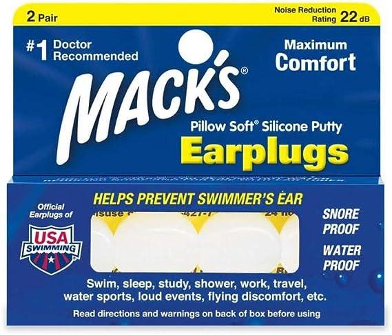 /Macks Bouchons doreille Natation Oreille de Mack Aqua Bloc en silicone doux pour sports deau/