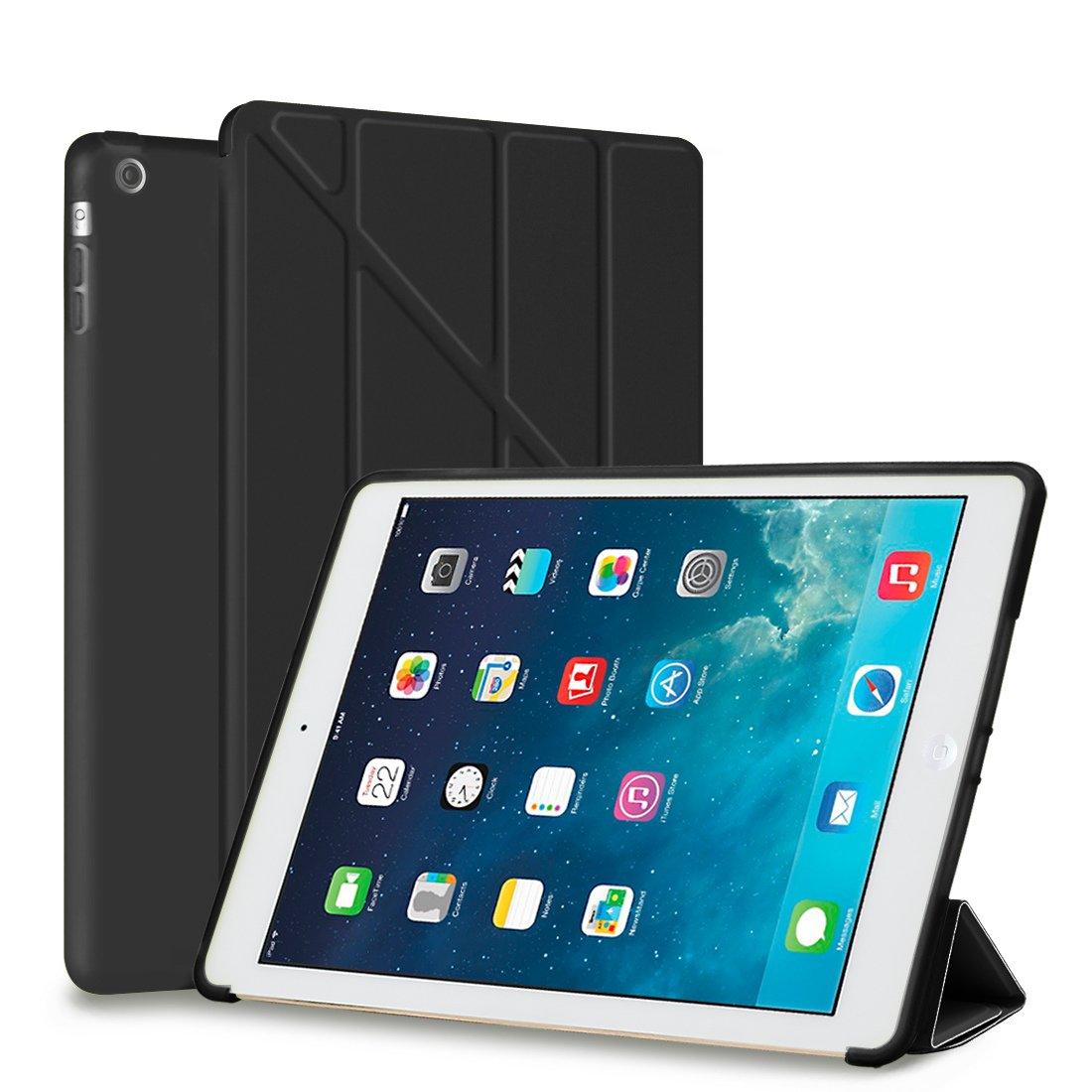 iPad Air Coque, Goojodoq Smart Cover avec Soft Back [Ultra fin Cuir PU Support de multiples angles de Transformers] [] résistant aux chocs de protection en silicone translucide Shell pour Apple iPad Air 1(iPad 5) avec fonction veille/réveil automatique Fo