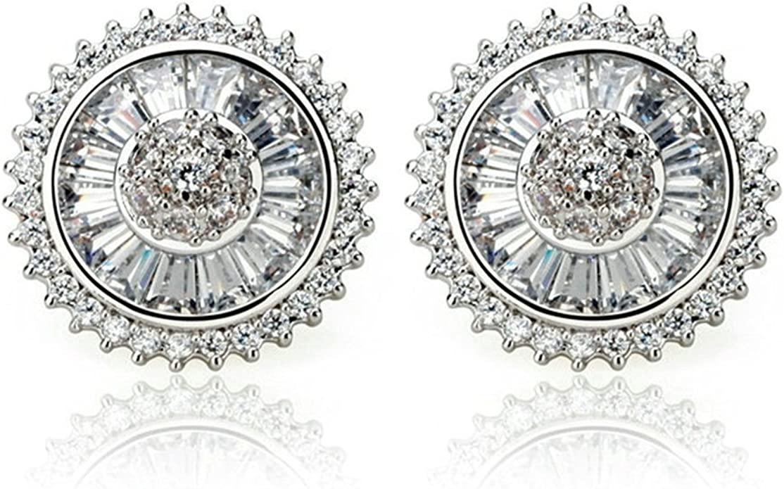 Epinki Gold Plated Womens Stud Earrings Cubic Zirconia White Gold
