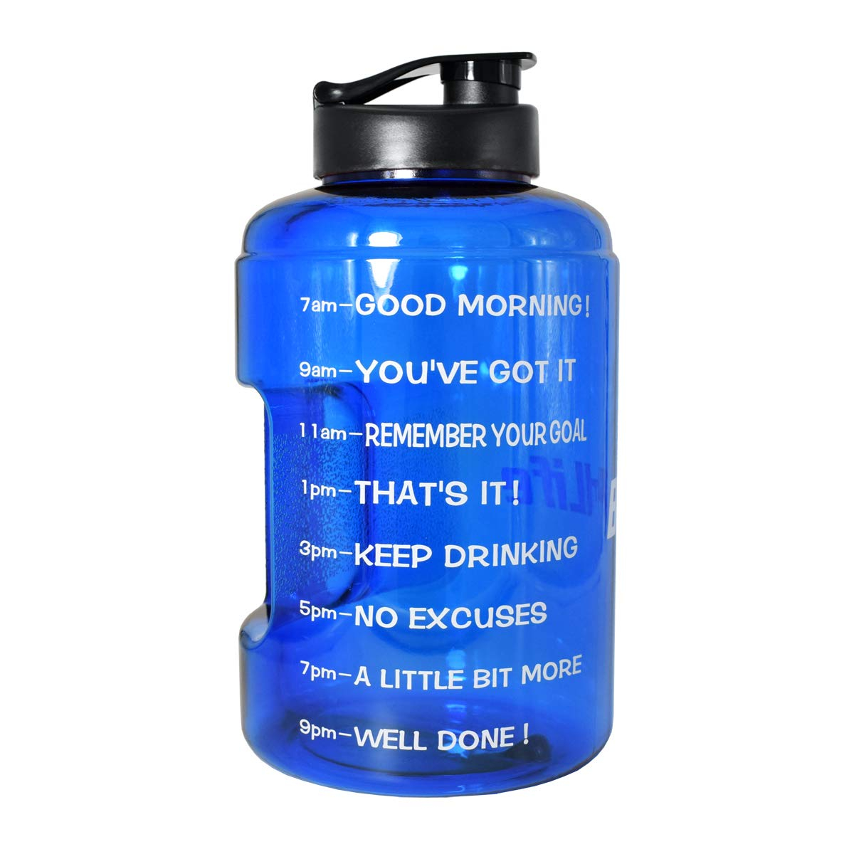BuildLife 1 Gallon(128OZ) Sports Water Bottle Inspirational Fitness Workout Wide Mouth with Time Marker for Measuring Your H2O Intake BPA Free(1 Gallon, Blue)