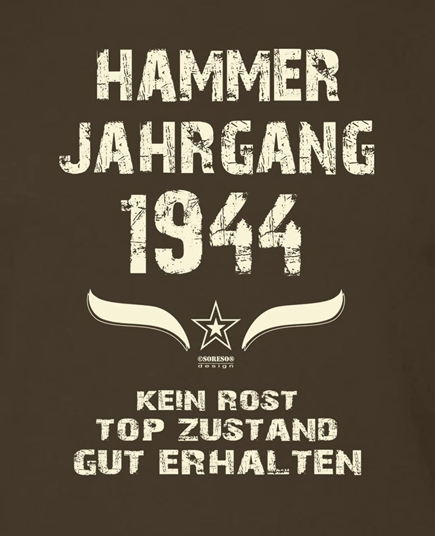 Soreso Herren Kurzarm T-Shirt Geschenk 74. Geburtstag Hammer Jahrgang 1944  Farbe: Schwarz: Amazon.de: Bekleidung