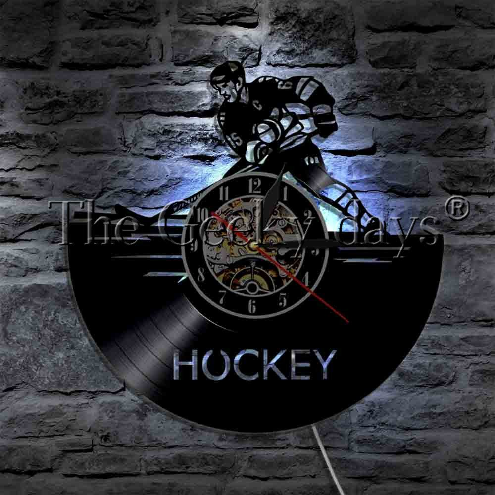 The Geeky Days Hockey Ice Sport Vinyl Record Wall Clock Modern Design Wall Watch LED Night Light Youth Hockey Player Home Decor for Hockey Lover Gift (with Led)