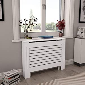 """Canditree White Radiator Cover, Heating Cover Cabinet MDF 44"""" x 7.5"""" x 32"""""""