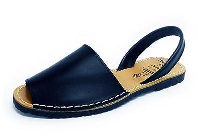 5458b9abc12c Dark Blue Avarcas Menorquinas Ladies Leather Flat Open Toed Sandal Spanish  Summer
