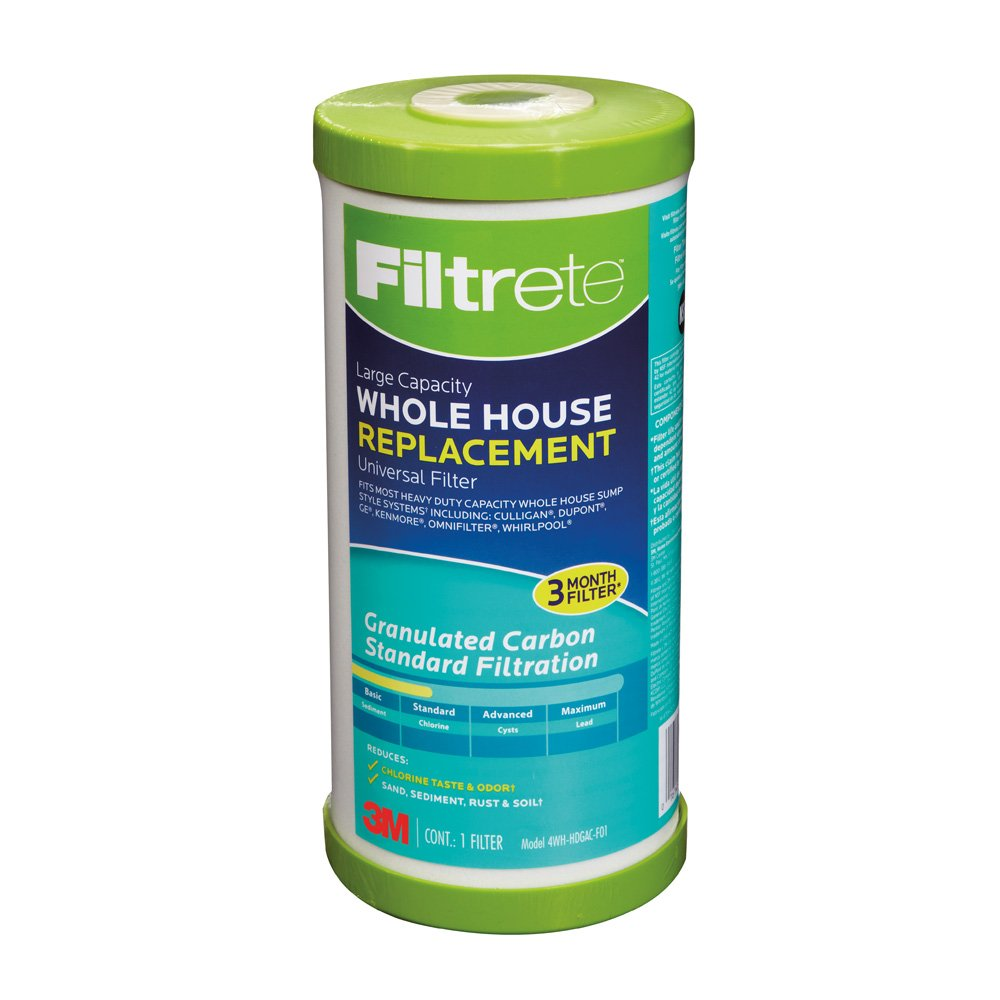 Filtrete Large Capacity Granulated Activated Carbon Whole House Water Filter, Sump Style, Reduces Sediment and Chlorine Taste & Odor, 4-Pack, (4WH-HDGAC-F01) by Filtrete