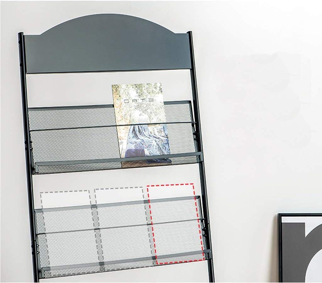 Magazin St/änder Boden Prospektst/änder gro/ßer mobiler Literaturst/änder mit 3 Fachb/öden schwarz Zeitschriftenstand f/ür das B/üro Size : 48 * 30 * 130cm