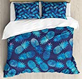 Bedding 4 Piece Modern Pineapple Figures Pattern Exotic Fruit in Digital Watercolor Illustration Duvet Cover Set 4 Pcs Set (1 Duvet Cover, 1 Bed Sheet, 2 Pillowcases) Bedding Sets, King