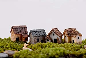 Garneck 4pcs Miniature Gardening Landscape Micro Village Stone Houses Thumbnail House Thatched Huts DIY Bonsai Terrarium Crafts Desk Ornaments for Fairy Garden Decoration(Random Style)