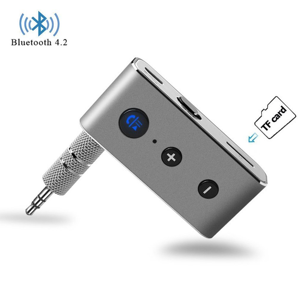 Yabland Bluetooth Receiver,Bluetooth 4.2 Wireless Receiver Portable Bluetooth 3.5mm AUX Adapter Car Kit Hands Free,Support TF Card for Headphones,Speakers,Home,Car Audio Sound Stereo Music System