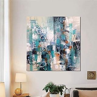 WHUI Pittura a Olio Disegnata a mano pittura a olio astratta blu su tela senza cornice decorazione della parete Home Decor