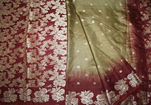 Olive Green Silk Sari - 9
