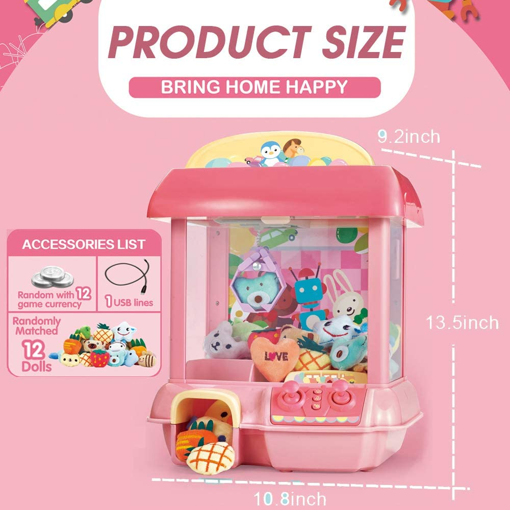 Giving Children The Best Gift CISAY Claw Machine,C1 Claw Toy,2.4G Remote Control Automatic or Manual Dual Mode Mini Claw Machine Pink Intelligent System with Music and Lighting