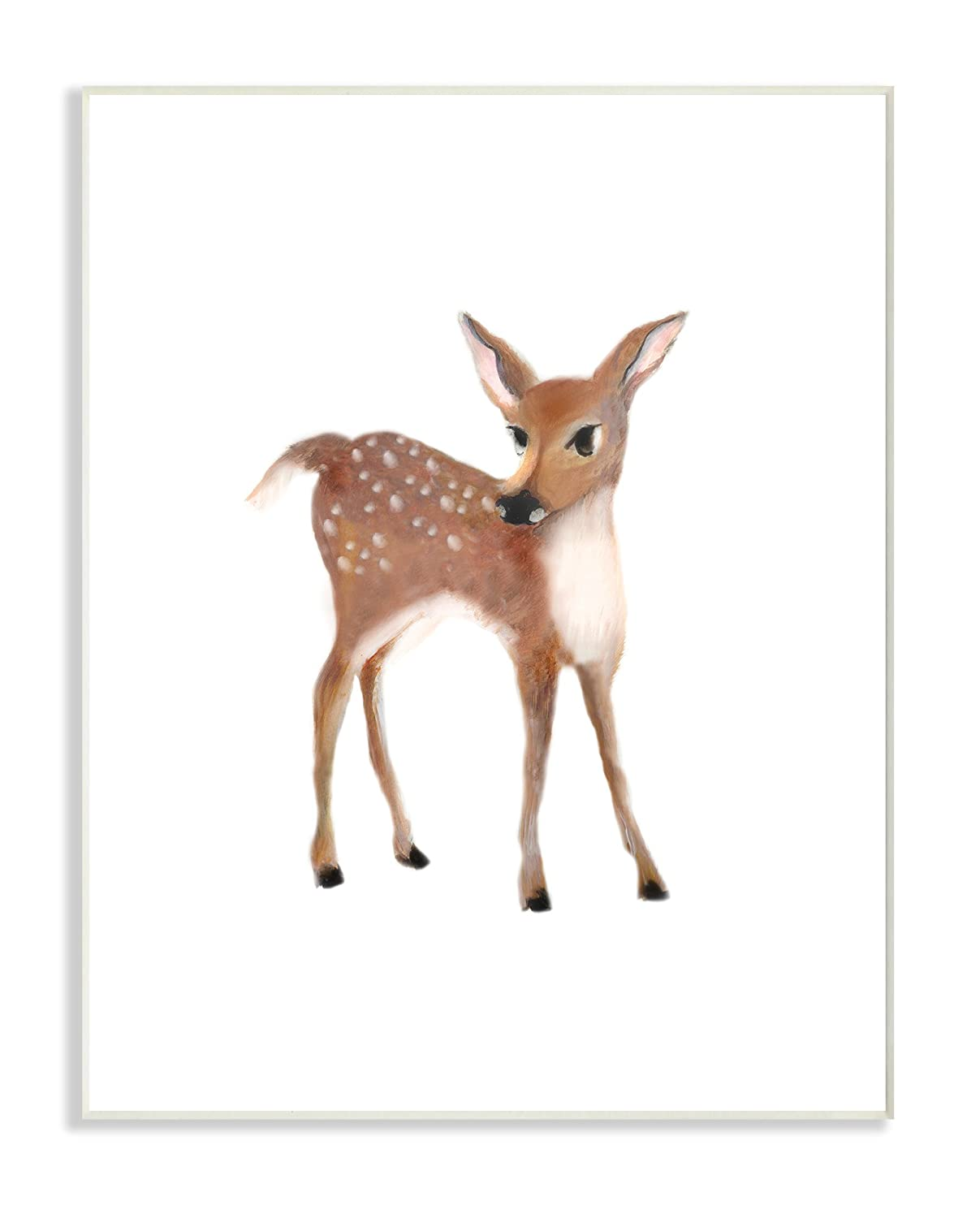 10 x 0.5 x 15 Stupell Industries Baby Deer Illustration Wall Plaque Art Proudly Made in USA