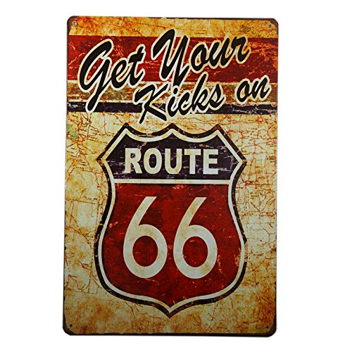 DL-Get Your Kicks on Route 66 Antique Motor Oil, Vintage, Metal