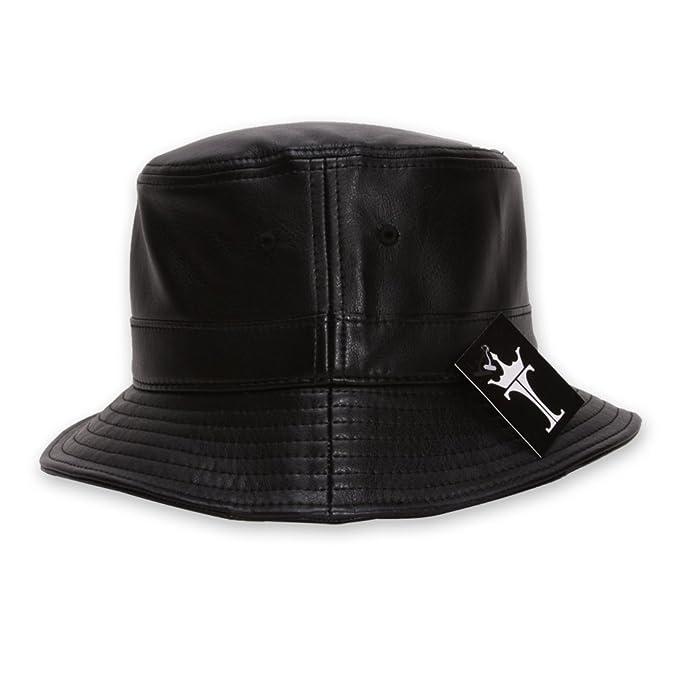 9b04b23deb2ef TOP HEADWEAR TopHeadwear Faux Leather Bucket Hat - Black at Amazon ...