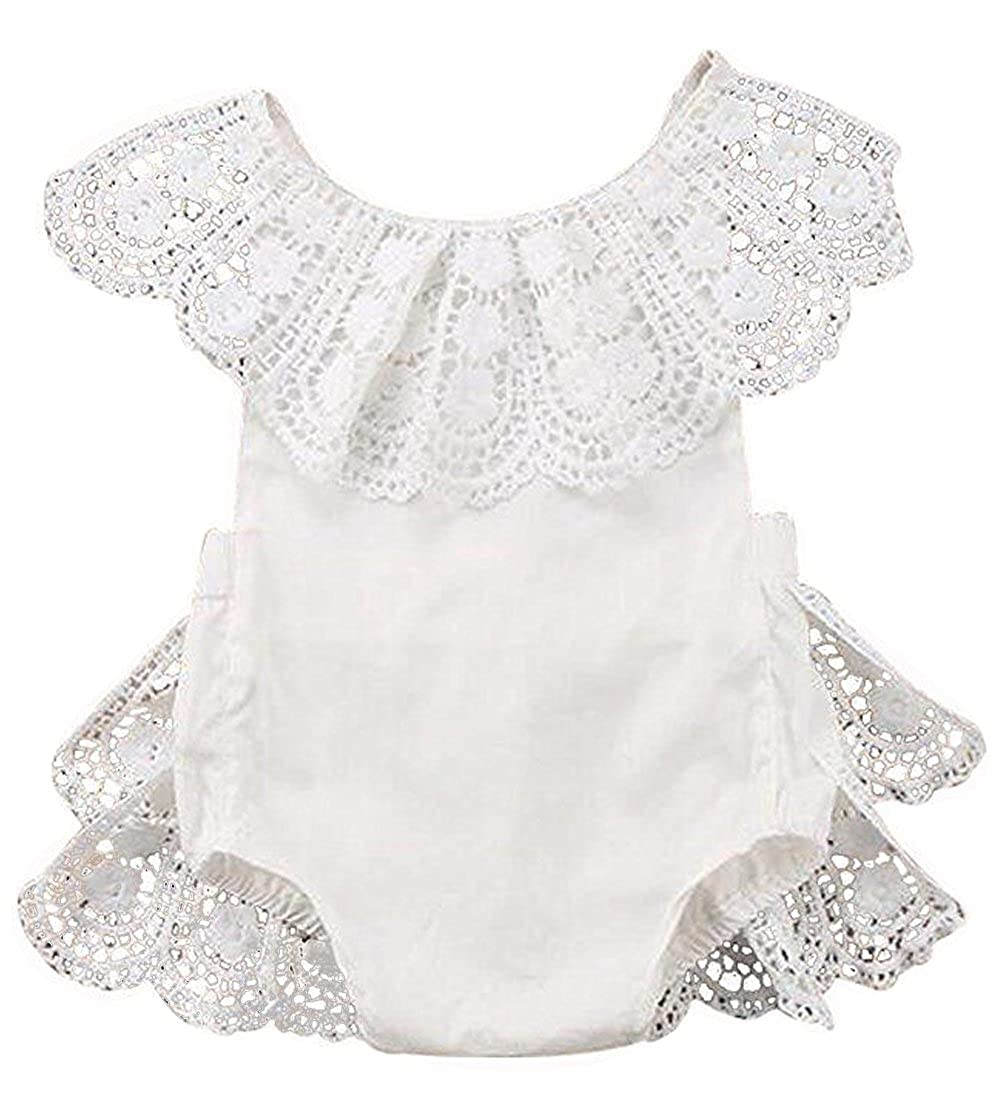 1e5d0c75f0c9 Amazon.com  EGELEXY Infant Baby Girl Lace Floral Ruffles Baby Girl Romper  Cake Sunsuit Outfits  Clothing