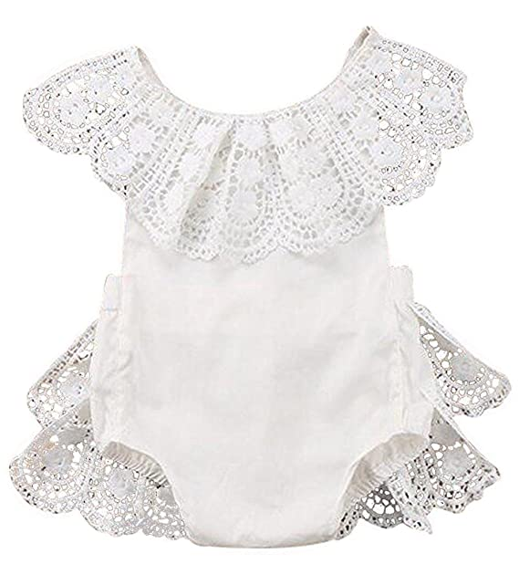 70d84ec7e7a Amazon.com  EGELEXY Infant Baby Girl Lace Floral Ruffles Baby Girl Romper  Cake Sunsuit Outfits  Clothing