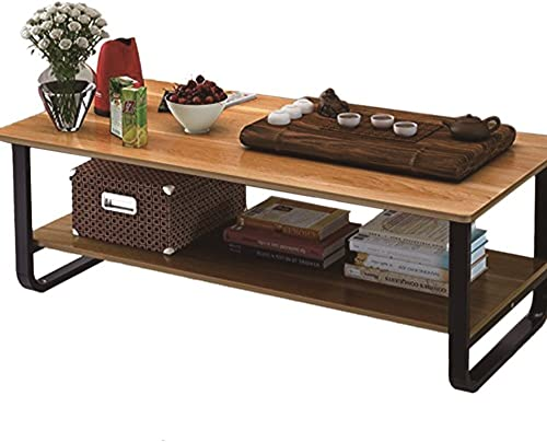 Mordern Large Coffee Table with Lower Storage Shelf for Living Room, 48 x 24 Natural