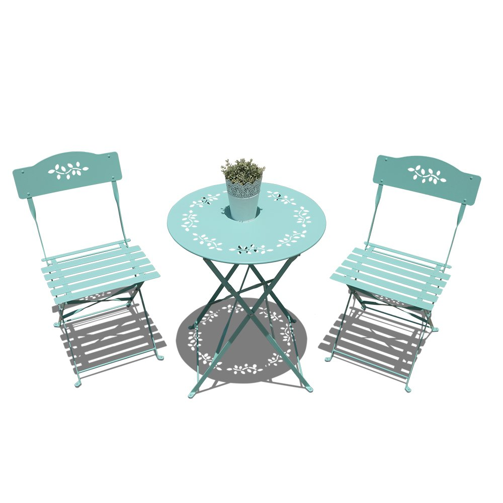 OC Orange-Casual 3-Piece Floral Bistro Set, Steel Folding Dining Table and Chairs Garden Backyard Outdoor Furniture Set, Decorative Design-Turquoise