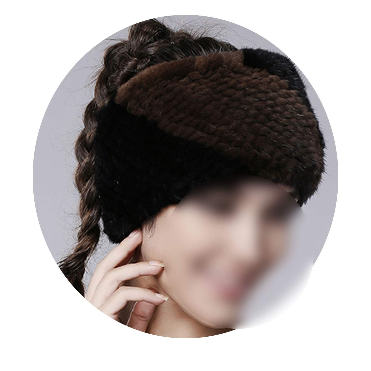 Winter Women Mink Fur Headband Mink Fur Hat for Women,brown black