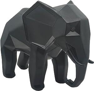 Resin Geometric Abstract Elephant Sculpture - Modern Geometric Elephant Resin Home Decor Statues Accessories Crafts Sculpture Ornaments (Black)