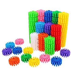 Gears Interlocking Building Set, 80 Pcs Gears Building Set, 10 Color Building Blocks Puzzles Educational Learning Toys Interlocking Solid Gear Set Preschool Gifts for Boys Girls Safe Kids Material
