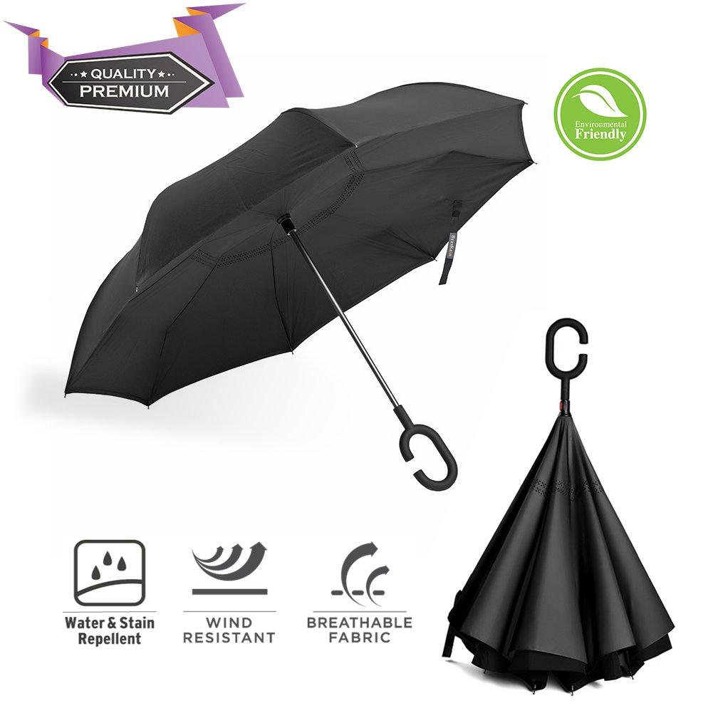 BravRain Parapluie réversible, coupe-vent, avec poignée en forme de C pour garder les mains libres, double couche réversible, pliable à l'envers, parapluie de voyage à emporter en voiture Noir