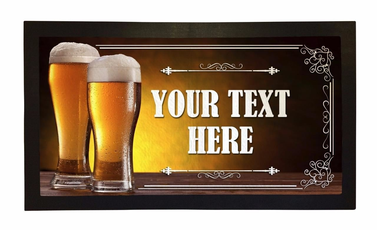 Bar Runner Your Text Here Lager Pint Drip Spill Mat Personalized Bar Gifts