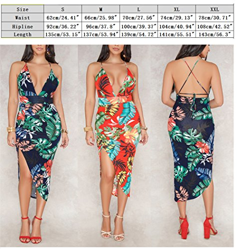 Sexy Boho Party Wrap Bluewolfsea Strap Womens Spaghetti Neck Dress Red1 V Backless Beach Floral Maxi Summer Halter w1qAq