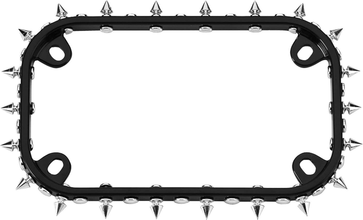 Cruiser Accessories 77015 MC Spikes Motorcycle License Plate Frame, Black/Chrome