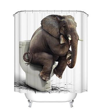 Fangkun Shower Curtain Art Bathroom Decor Elephant Sitting on The Toilet Design - Waterproof Mildew - Polyester Fabric Bath Curtains Set - Shower Hooks (72 x 72 inches, YL055#)