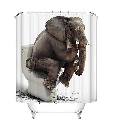 Fangkun Shower Curtain Art Bathroom Decor Elephant Sitting On The Toilet Design