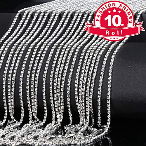 2.5mm Crystal Rhinestone Chain, YGDZ 10 Yard Crystal 6800pcs Rhinestones Close Trimming Claw Chain for Crafts DIY Jewelry Making, 2 Pack Silver Color