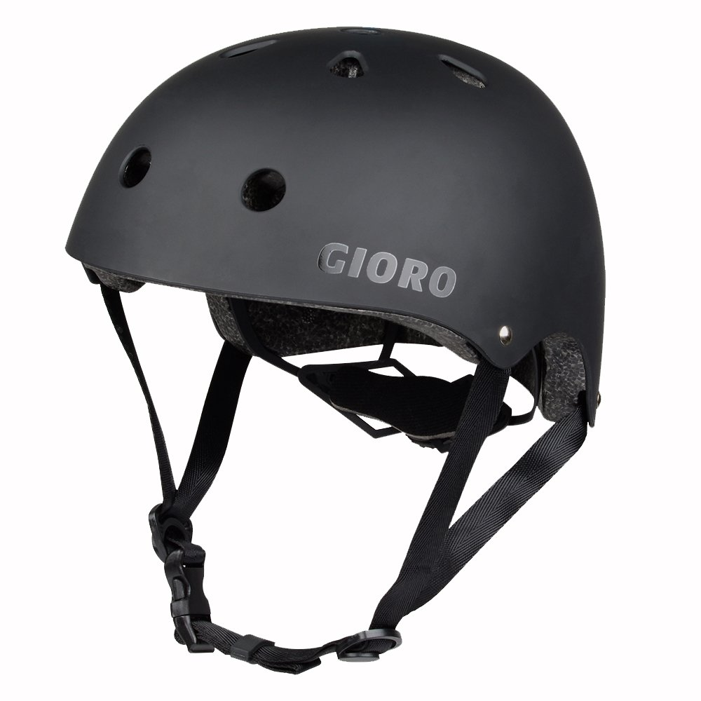 GIORO Skateboard Helmet Impact Resistance Safe Helmet with Ventilation Multi Sport for BMX Bike Skate& Scooter,Dual Certified CPSC Adult &Kids Adjustable Dial Helmet-Multiple Colors&Sizes (Black, L) by GIORO