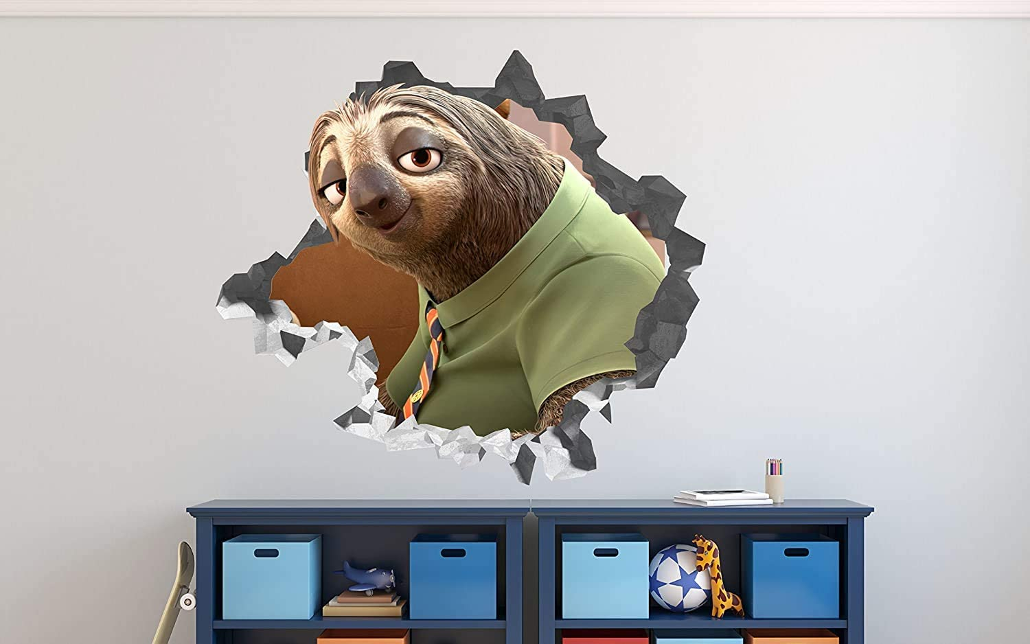 """Zootopia Flash Face Wall Decal Smashed 3D Sticker Vinyl Decor Mural Kids Movie - Broken Wall - 3D Designs - OP506 (Giant (Wide 50"""" x 46"""" Height))"""