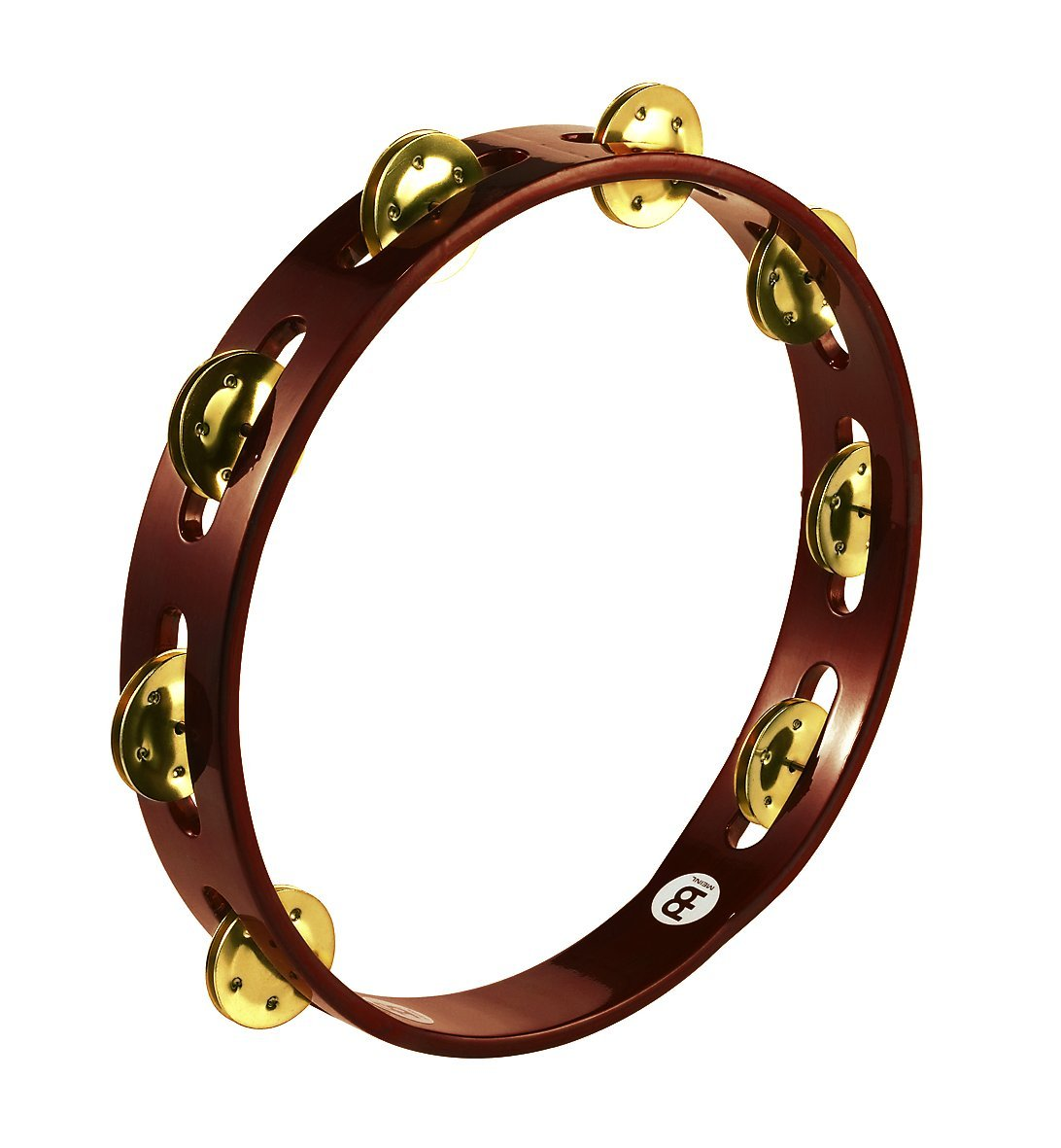 Meinl Percussion TA1B-AB Traditional 10-Inch Wood Tambourine with Single Row Brass Jingles