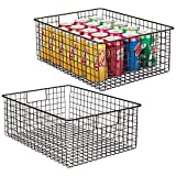 mDesign Farmhouse Decor Metal Wire Food Organizer Storage Bin Baskets with Handles for Kitchen Cabinets, Pantry, Bathroom, Laundry Room, Closets, Garage - 2 Pack - Bronze