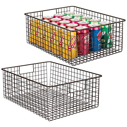 mDesign Farmhouse Decor Metal Wire Food Organizer Storage Bin Baskets with Handles for Kitchen Cabinets, Pantry, Bathroom, Laundry Room, Closets, Garage - 2 Pack - Bronze (Handles Metal With Baskets Small)