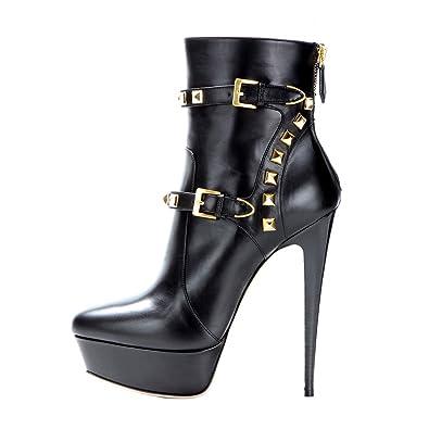 Onlymaker Damen Stiefel Pumps Boots Kurzschaft Stiefeletten Zehenkappe High Heels