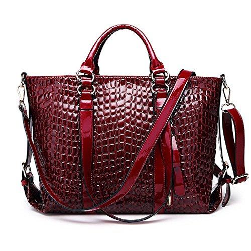 Fangyou1314 Shoulder Bag Shoulder Bag Big Crocodile Pattern Autumn And Winter (color: Red) Red