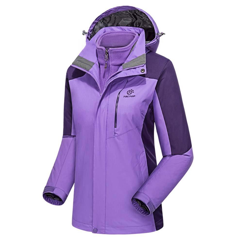 camgo Women's Windproof Hooded Winter Jacket Ski Coat with Detachable Fleece Coat for Outdoor Ski Hiking (S, Purple)