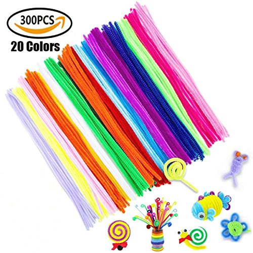 YIYAYIYAYO 300pcs Pipe Cleaners – 20 Colors Extra Long Reusable Chenille Craft Stems for DIY Art Craft, Kids Safe & Assorted Colors (6 mm x 12 Inch
