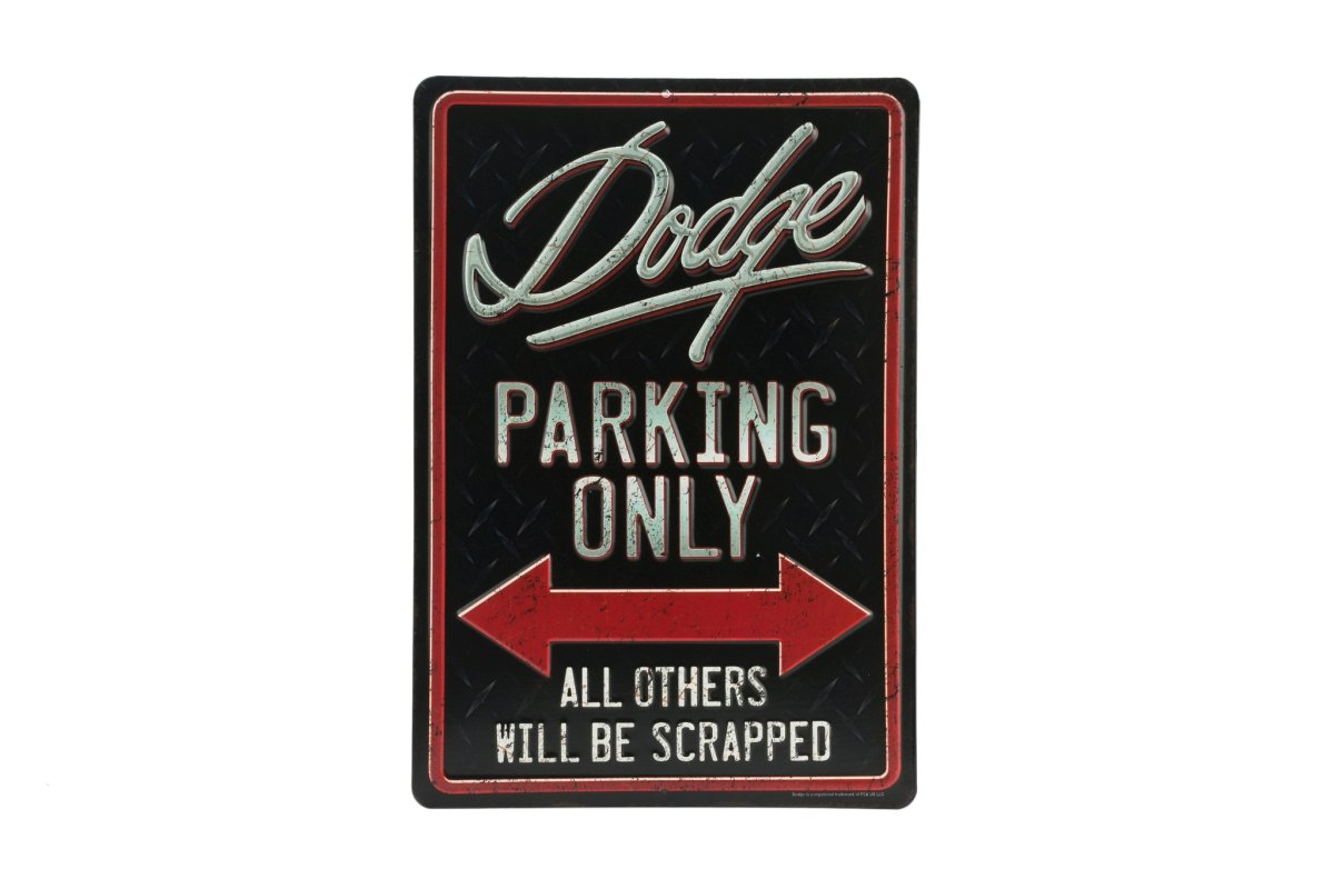 Open Road Brands Dodge Parking Only Black Embossed Metal Wall Art Sign - an Officially Licensed Product Great Addition to Add What You Love to Your Home/Garage Decor