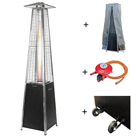 Commercial Quality Pyramid Real Flame Gas Patio Heater FREE Cover Wheels Reg