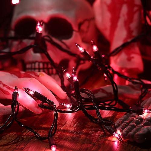 HAYATA Halloween String Lights 24ft 100 Incandescent Purple Mini Bulbs Lights, Halloween Lighting Decor for Outdoor and Indoor Use, Fairy Garden, Yard, Home, Party, Holiday, Halloween Decorations
